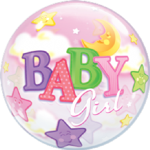 "Baby Girl Moon Bubble Balloon (22"") 1pc"
